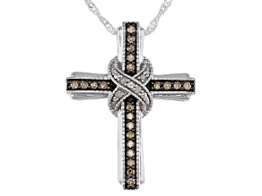 Champagne And White Diamond Rhodium Over Sterling Silver Cross Pendant With Chain 0.25ctw