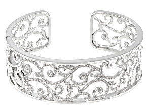 White Diamond Rhodium Over Sterling Silver Cuff Bracelet 0.15ctw