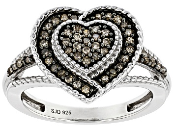 Picture of Champagne Diamond Rhodium Over Sterling Silver Heart Cluster Ring 0.30ctw