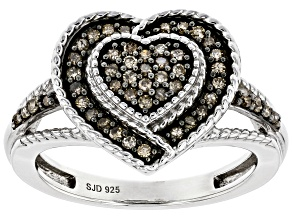 Champagne Diamond Rhodium Over Sterling Silver Heart Cluster Ring 0.30ctw