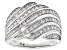 White Diamond Rhodium Over Sterling Silver Wide Band Ring 0.50ctw