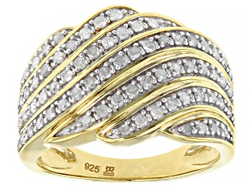 Picture of Engild™ White Diamond 14k Yellow Gold Over Sterling Silver Wide Band Ring 50ctw