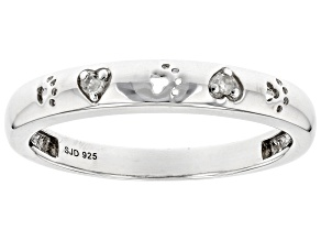 White Diamond Accent Rhodium Over Sterling Silver Heart And Paw Print Band Ring
