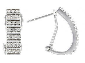 White Diamond Rhodium Over Sterling Silver J-Hoop Earrings 0.50ctw