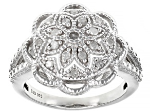 White Diamond Rhodium Over Sterling Silver Flower Cluster Ring 0.20ctw