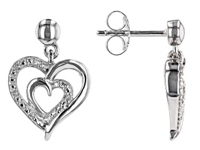 White Diamond Accent Rhodium Over Sterling Silver Heart Dangle Earrings