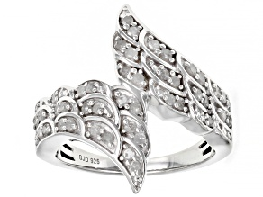 White Diamond Rhodium Over Sterling Silver Angel Wing Bypass Ring 0.50ctw
