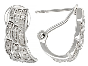 White Diamond Rhodium Over Sterling Silver Angel Wing J-Hoop Earrings 0.33ctw
