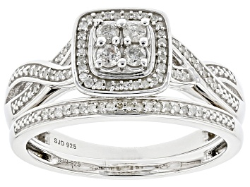 Picture of White Diamond Rhodium Over Sterling Silver Cluster Ring with Matching Band 0.40ctw