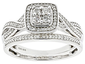 White Diamond Rhodium Over Sterling Silver Cluster Ring with Matching Band 0.40ctw