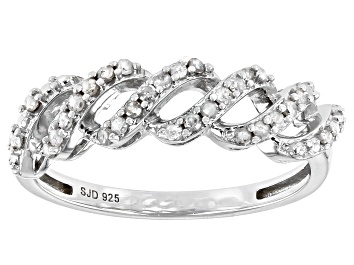 Picture of White Diamond Rhodium Over Sterling Silver Twisted Band Ring 0.25ctw