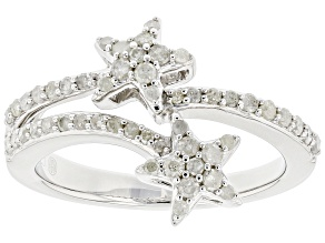 White Diamond Rhodium Over Sterling Silver Star Band Ring 0.50ctw