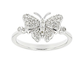 White Diamond Rhodium Over Sterling Silver Cluster Butterfly Ring 0.30ctw