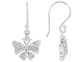 White Diamond Rhodium Over Sterling Silver Dangle Butterfly Earrings 0.50ctw