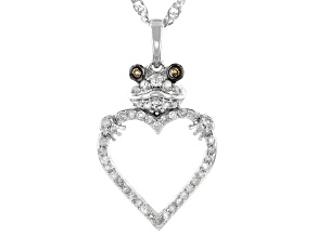White And Champagne Diamond Rhodium Over Sterling Silver Frog Heart Pendant with Chain 0.35ctw