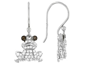 White And Champagne Diamond Rhodium Over Sterling Silver Dangle Frog Earrings 0.50ctw