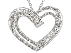 White Diamond Rhodium Over Sterling Silver Heart Pendant With Rope Chain 0.50ctw