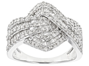 White Diamond Rhodium Over Sterling Silver Cluster Ring 1.00ctw