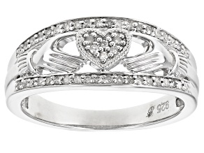 White Diamond Rhodium Over Sterling Silver Claddagh Ring 0.15ctw