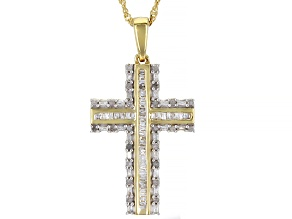 White Diamond 14K Yellow Gold Over Sterling Silver Cross Pendant With Chain 0.75ctw