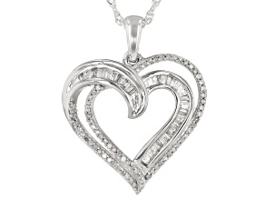 White Diamond Rhodium Over Sterling Silver Heart Pendant With Chain 0.50ctw