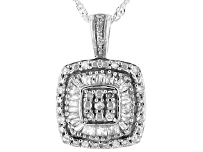 White Diamond Rhodium Over Sterling Silver Cluster Pendant With Chain 0.50ctw