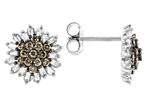 Champagne And White Diamond Rhodium Over Sterling Silver Cluster Earrings 0.90ctw