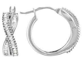 White Diamond Rhodium Over Sterling Silver Hoop Earrings 0.60ctw