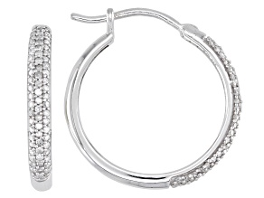 White Diamond Rhodium Over Sterling Silver Hoop Earrings 0.40ctw