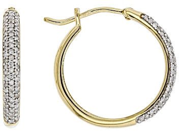 Picture of Engild™ White Diamond 14k Yellow Gold Over Sterling Silver Hoop Earrings 0.40ctw