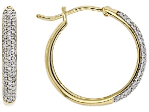 Engild™ White Diamond 14k Yellow Gold Over Sterling Silver Hoop Earrings 0.40ctw