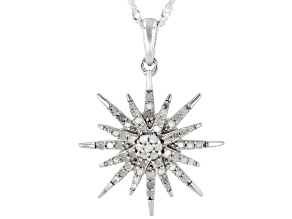 White Diamond Rhodium Over Sterling Silver Celestial Pendant W/ Chain 0.50ctw