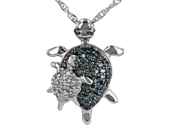 Picture of Blue And White Diamond Rhodium Over Sterling Silver Turtle Pendant With Chain 0.55ctw