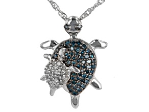 Blue And White Diamond Rhodium Over Sterling Silver Turtle Pendant With Chain 0.55ctw
