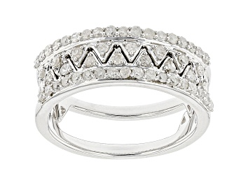 Picture of White Diamond Rhodium Over Sterling Silver Stackable Band Rings 0.60ctw