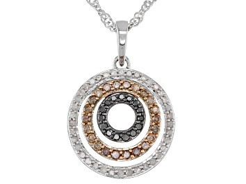 Picture of Champagne, White, And Black Diamond Circle Pendant With Chain 0.50ctw