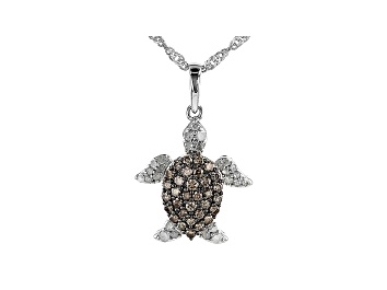 Picture of Champagne And White Diamond Rhodium Over Sterling Silver Turtle Pendant With Chain 0.65ctw