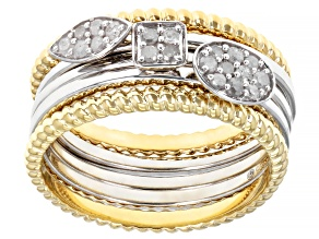 White Diamond Rhodium And 14K Yellow Gold Over Sterling Silver Stackable Rings 0.25ctw