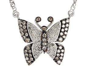 Champagne And White Diamond Rhodium Over Sterling Silver Butterfly Necklace 0.75ctw