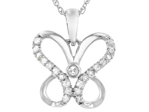 "White Diamond Rhodium Over Sterling Silver Pendant W/ 18"" Rope Chain 0.15ctw"