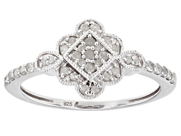 Picture of White Diamond Rhodium Over Sterling Silver Cluster Ring 0.25ctw