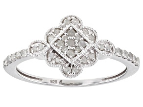 White Diamond Rhodium Over Sterling Silver Cluster Ring 0.25ctw