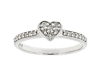 Picture of White Diamond Rhodium Over Sterling Silver Heart Band Ring 0.20ctw