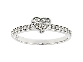 White Diamond Rhodium Over Sterling Silver Heart Band Ring 0.20ctw