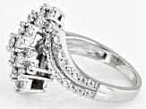 White Diamond Rhodium Over Sterling Silver Cluster Ring 0.45ctw