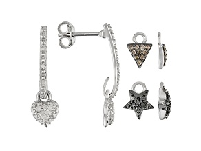 Champagne, Black, And White Diamond Rhodium Over Silver Earrings With Interchangeable Charms 0.35ctw