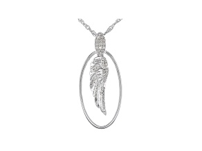 White Diamond Rhodium Over Sterling Silver Angel Wing Pendant With Chain 0.35ctw