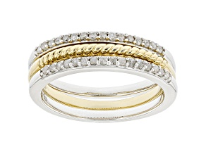 White Diamond Rhodium And 14kt Yellow Gold Over Sterling Silver Set Of 3 Stackable Rings .25ctw