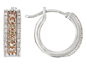 Champagne And White Diamond Rhodium Over Sterling Silver Hoop Earrings 0.45ctw