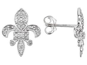 White Diamond Rhodium Over Sterling Silver Fleur-De-Lis Stud Earrings 0.33ctw